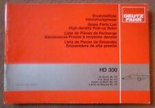 Deutz Fahr Hochdruckpresse HD300 Ersatzteilliste