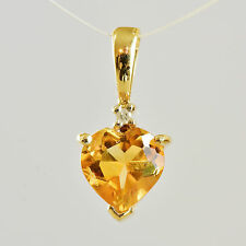 CITRINE AND DIAMOND PENDANT. HEART SHAPE STONE IN 9K GOLD. A TINY TOKEN OF LOVE.
