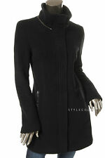 NEW $590 Mackage Womens Black Sunski Leather Trim Basic Coat Jacket M STYLECODY