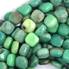 "10mm faceted green chrysoprase flat square beads 15.5"" strand"