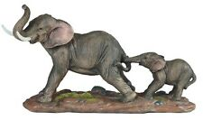 9.5 Inch Gray Elephant w/ Baby Nature Wildlife Animal Statue Collectible Wild