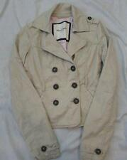 ABERCROMBIE girls kids XL khaki lined double breasted spring jacket cotton