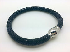 Genuine Polished Stingray Skin Leather Bracelet BLACK Free Fast Shipping from US