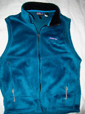PATAGONIA PLUSH COBALT TURQUOISE FLEECE EMBROIDERED LOGO 1/2 ZIP JACKET VEST-L