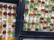 US SELLER- 15pcs vintage gold tone agate faux amber wholesale ring jewelry cheap