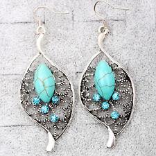 nouveau Fashion filles tendance ethnique Turquoise feuilles creuses Ovalaire