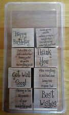 2001 Stampin Up CHEERY CHAT 8 pc RUBBER INK STAMP SET Large Size Greetings