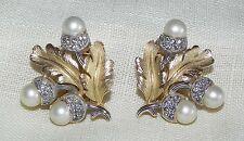 Trifari Alfred Philippe Design Oak Leaf Acorns Pearls Rhinestones Clip Earrings