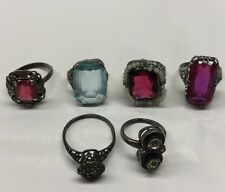 Lot Of 6 Antique Vintage Sterling Silver Woman's Rings With Stones 25 Grams