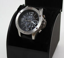 NEW AUTHENTIC ARMANI EXCHANGE SILVER BLACK LEATHER CHRONOGRAPH MENS AX1506 WATCH