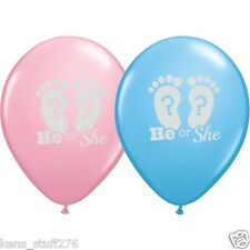 He or She Latex Balloons, Gender Reveal Baby Shower Decor, Boy or Girl - 10p Lot