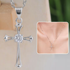 925 Sterling Silver Platinum Plated Chic Cross Crystal Chain Necklace Pendant