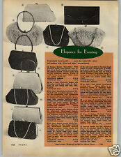 1966 PAPER AD Purse Beaded Evening Mr John Snake Chain Fanfare Leaf Motif Italy
