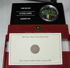 2005 CANADA SILVER MAPLE LEAF $5 DOLLARS BIGLEAF MAPLE COLOR 1 OZ -.9999 pure