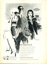 1961 Lord & Taylor Fashion Herringbone Wool Suit Football ART PRINT AD
