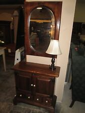 Rare Ethan Allen Old Tavern Pine Entry Console and Mirror