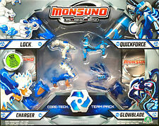 Monsuno CORE-TECH 4 x Pack Lock, caricabatterie, GLOWBLADE & QUICKFORCE