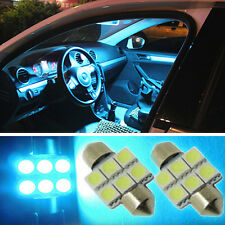"2x Aqua Blue 1.25"" 31mm 6-SMD DE3175 DE3022 LED Bulbs For Car Interior light RS8"