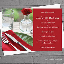 Red Rose Come Dinner Party Birthday Celebrations Invitations x 12 +envs H0795