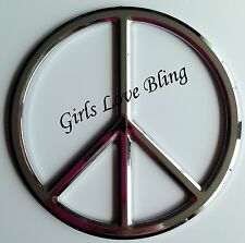NEW 3-D Chrome-Colored PEACE SIGN DECAL for Car, iPad, or Wherever - SUPER CUTE!
