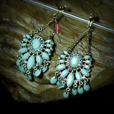 Boucles d`Oreilles Clips Chandelier Tassel Turquoise Boheme Original Cadeau B2