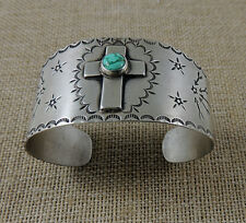 Terrific Southwestern Fred Harvey Cross Turquoise Bracelet Great Stamp Work .925