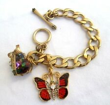 JUICY COUTURE..GOLD..CHARM..BRACELET..w ENAMEL BUTTERFLY & RHINESTONE HEART