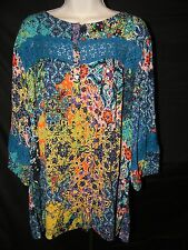 WOMEN'S PLUS WESTBOUND RAYON TUNIC TOP STYLISH HIPPIE LACE NWT 3X 60 BUST