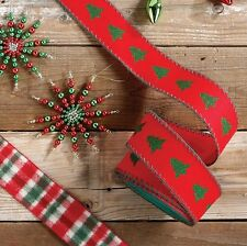 Christmas Tree Wired Craft Christmas Ribbon 2.5 in r3604226 NEW RAZ The Tree Lot