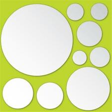 MIRROR ArT Wall Stickers 9 Circles Room Decor POLKA DOTS Mirrored Decals NEW