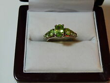 925 Sterling Silver Green Peridot 7 Stone size 5.5 Band Ring 12b 48