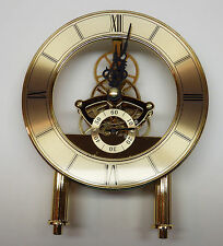 "Quartz Skeleton Clock Movement Anniversary With Dial Unit NEW Gold 5 7/8"" Tall"