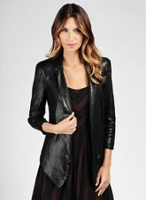 Womens Ella Moss Large Black Cleo Sequins Open Front Blazer Jacket Party Sexy