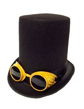 Black X-Tall Steampunk Top Hat and Gold Goggles Adult Men Costume Accessory