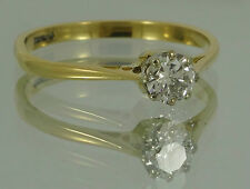 REDUCED GORGEOUS Vintage 18ct Gold 0.5ct DIAMOND Solitaire Ring Can Resize