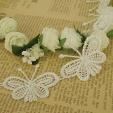 5 X CREAM GUIPURE LACE BUTTERFLY MOTIFS Sew On Flower APPLIQUE 40mm wide 1m LC54