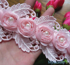 1yd Vintage Rose Pearl Lace Edge Trim Wedding Ribbon Applique DIY Sewing Craft