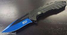 Mtech Blue & Black Finish Blade Spring Assist Assisted Knife Folding Pocket Clip
