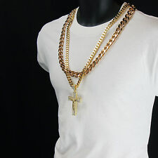 """Iced Out Hip Hop 14k Gold Plated Jesus Big Cross Cz Pendant Two 30"""" Cuban Chain"""