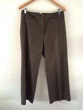 F&F Polyester Viscose Mix Smart Trousers Size 12 Brown Tweed  R9661