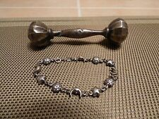 Vintage Antique Sterling Silver Baby Rattle & Baby Sun-Moon & Star Bracelet""