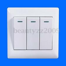 Universal 10A Power 3 Gang Wall Plate Light Lamp Bulb Switch Button Panel