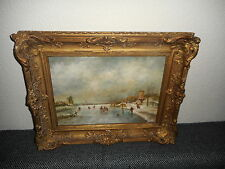 Old oil painting, Beautiful Dutch winterlandscape with ice skaters, is signed!