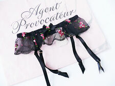 AGENT PROVOCATEUR MARIETT SUSPENDER BLACK/MULTI SIZE MEDIUM / 3 / 10-12 BNWT
