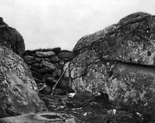 New 8x10 Civil War Photo: Rebel Casualty at the Devils Den, Battle of Gettysburg