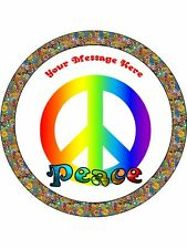 """Novelty Personalised Peace Sign CND 7.5"""" Edible Wafer Paper Cake Topper"""