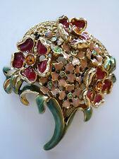 Graziano Crystal Jewels & Enamel Floral Flower Bouquet Brooch Pin