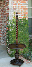 Antique English Oak Floor Lamp Table OPEN Barley Twist Post Rewired 1920s #5