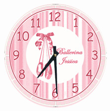 Personalized Clock Any Name PINK BALLERINA SHOES Ballet Girls Bedroom Decor Cute