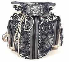 Johnny Was Bag Embroidered Backpack Bohemian VEGAN $298.00 NWT Blue jean